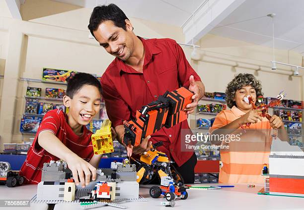 Multi-ethnic children playing at toy store