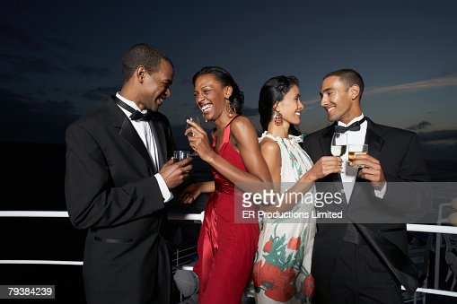Multi-ethnic couples laughing