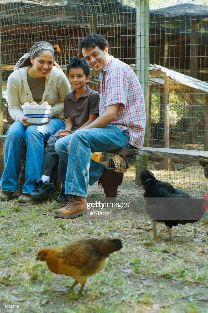 Multi-ethnic family holding bowl of eggs next to chickens : Stock Photo