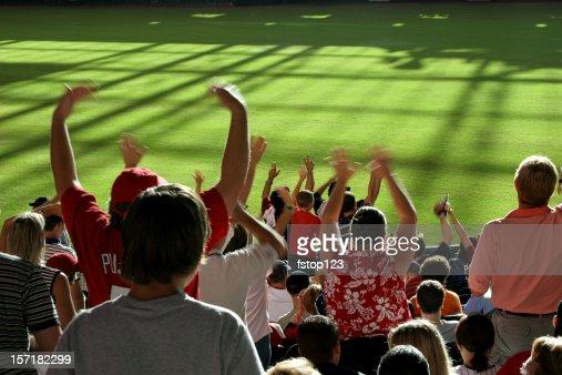 Multi-ethnic fans standing, cheering in stands. Baseball, soccer stadium.