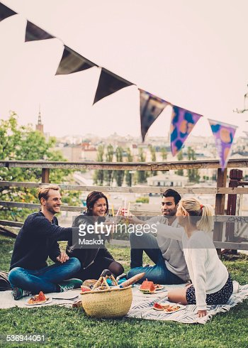 Multi-ethnic friends toasting elderflower drinks at rooftop party