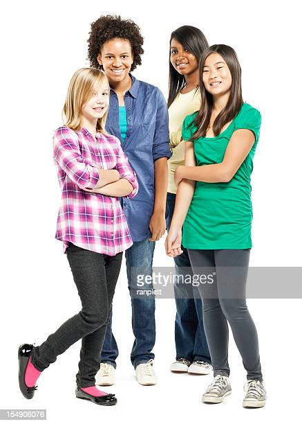 Multi-ethnic Girls Standing Together - Isolated