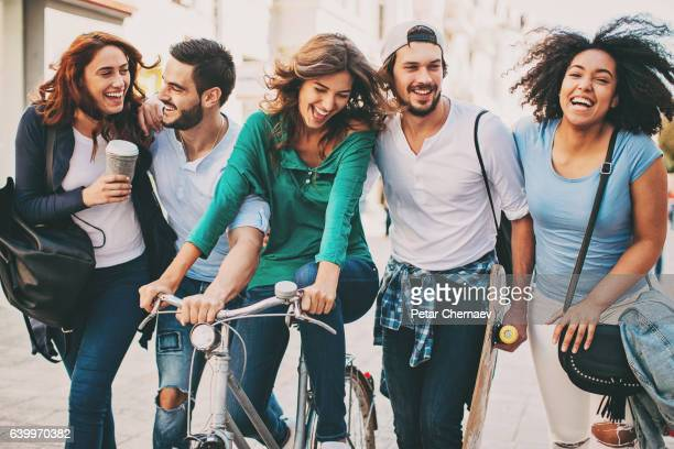 Multi-ethnic group having fun outdoors