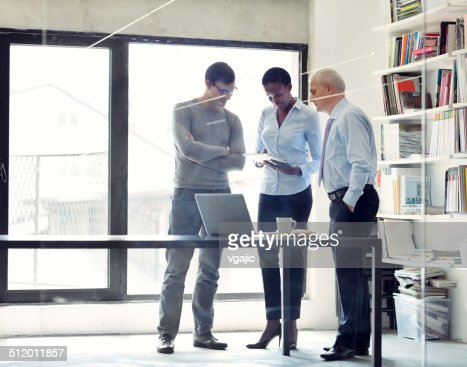 Multi-Ethnic Group of business people discussing in a office.