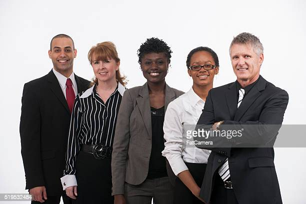 A multi-ethnic group of businessmen and businesswomen