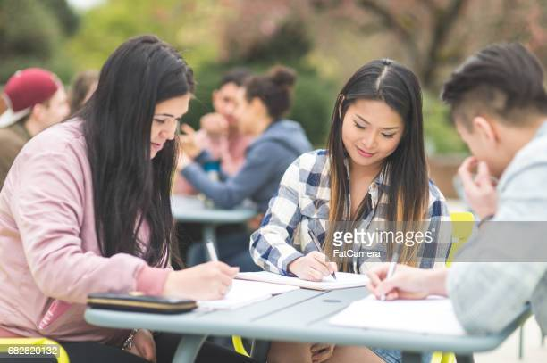 Multiethnic group of college students study outside at table together