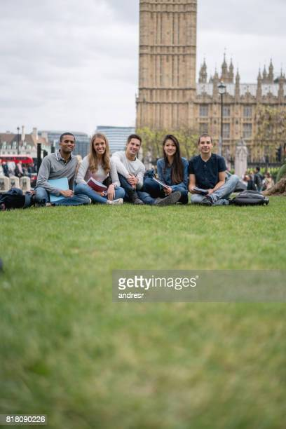 Multi-ethnic group of English students in London