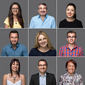 Smiling facial expression of nine people from different ethnicities. All the pictures were taken with a medium format Hasselblad Camera system and developed from Raw.