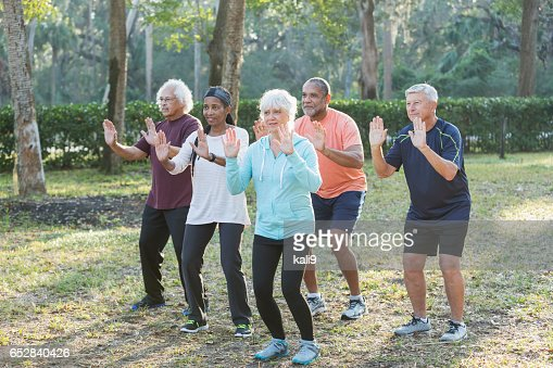 Multi-ethnic group of seniors taking tai chi class : Stock-Foto
