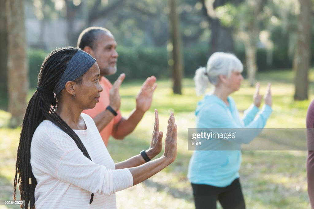 Multi-ethnic group of seniors taking tai chi class : Foto stock