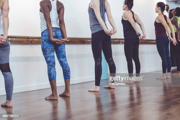 Multi-ethnic group of women doing barre workout