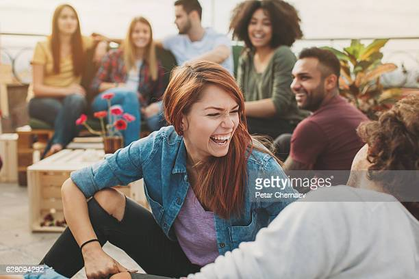 Multi-ethnic group of young people on a party