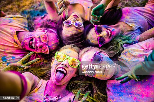 Multi-Ethnic Group Taking a Selfie at Holi Festival