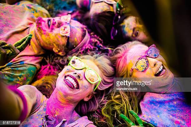 Multi-Ethnic Group Taking Selfie Holi Festival in Park