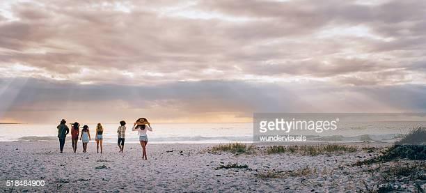 Multi-etnici amici Hipster camminando sulla spiaggia di sabbia