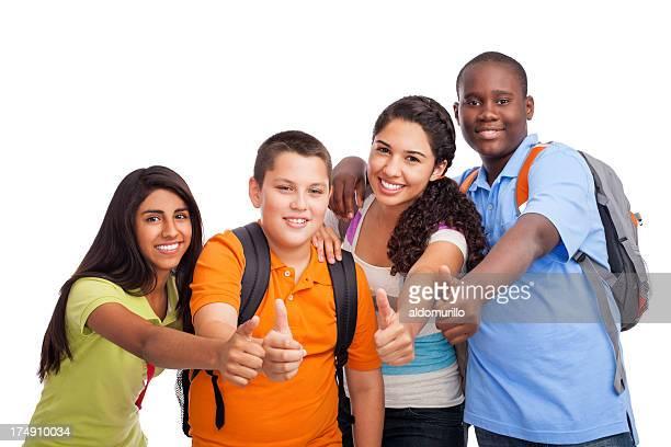Multi-ethnischen Studenten, die Daumen hoch