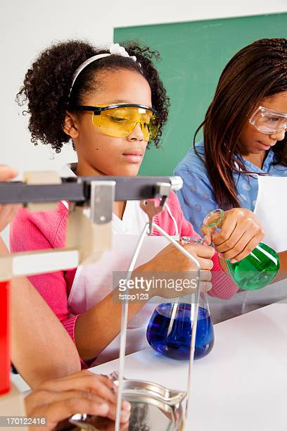 Multi-Ethnic students science lab safety glasses using scale and beaker