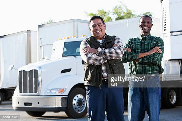 Multi-ethnic truck drivers