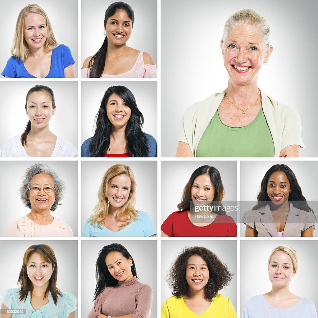 Multiethnische Menschen auf weißem Hintergrund. : Stock-Foto