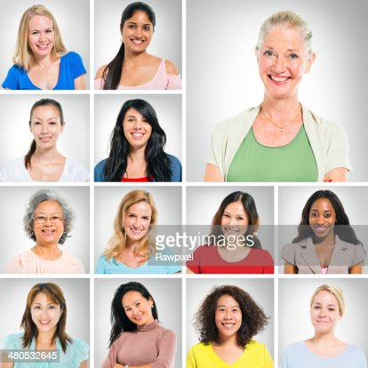 Multiethnic World People on White Background : Stock Photo