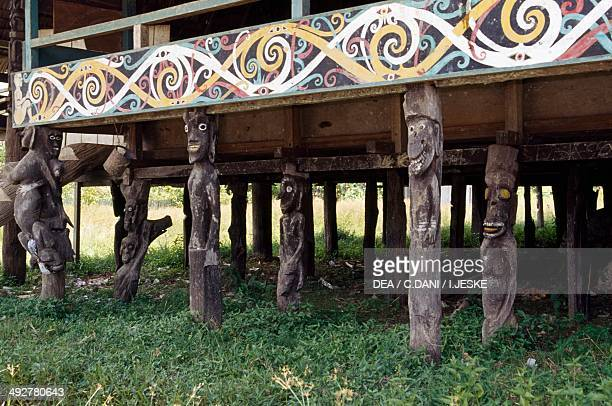 Multifamily residence on stilts typical of Kenyah people belonging to the group of Dyaks village of Pampang East Kalimantan Borneo Indonesia