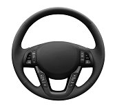 """""""Modern multifunction leather steering wheel, isolated on white background.Related Images:"""""""