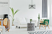 Multifunctional interior with white sofa, carpet, armchair and houseplant