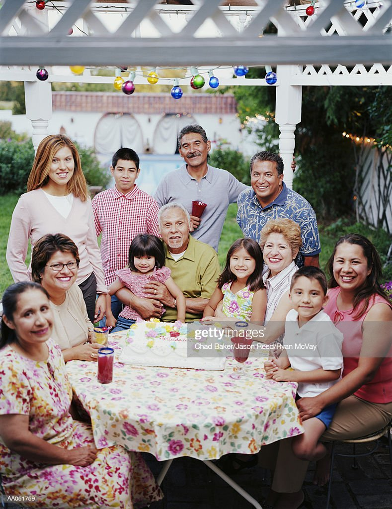 Multi-generation family celebrating at party, portrait : Stock Photo