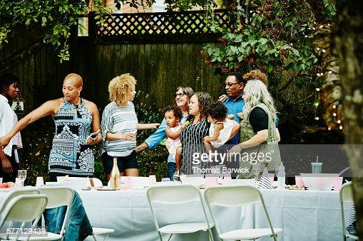 Multi-generation family gathering for photo