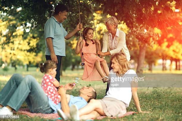 Multi-Generation Family Having Fun At Picnic.