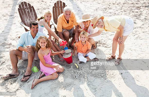 Multi-generation family on beach