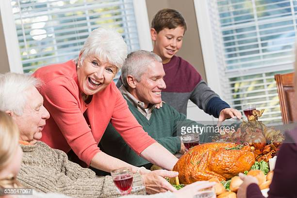 Multi-generation family, turkey dinner