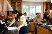 Multigenerational family in kitchen