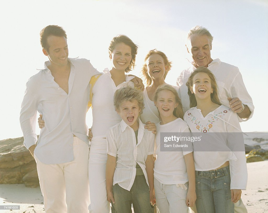 Multigenerational family portrait outdoors : Stock Photo