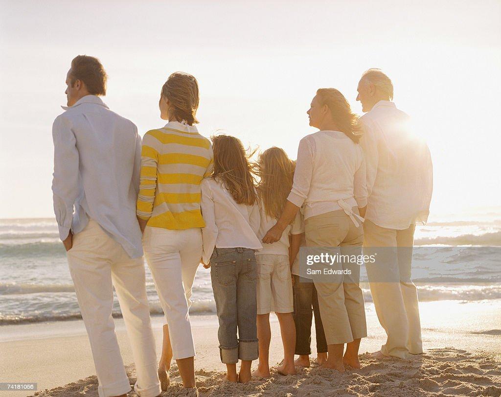 Multigenerational family portrait outdoors : Stock Photo