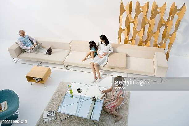 Multi-generational family relaxing in living room, elevated view