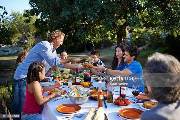 Multigenerational family together at dinner