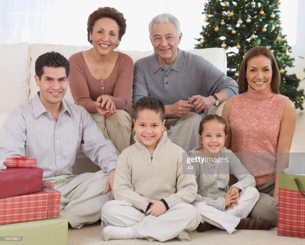 Multi-generational Hispanic family on Christmas