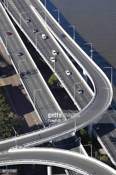 Multi-lane freeway next to a body of water