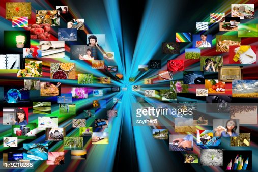 Multimedia background. Composed of many images : Stock Photo