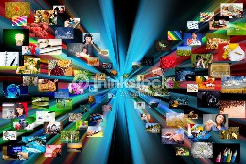 Multimedia background. Composed of many images : Stock Photo