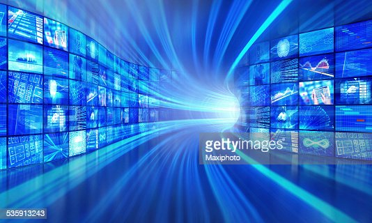 Multimedia technology in a cyberspace tunnel : Stock Photo
