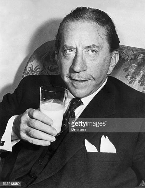 Multimillionaire J Paul Getty drinks a glass of milk his favorite beverage during a trip to London Photograph 1957