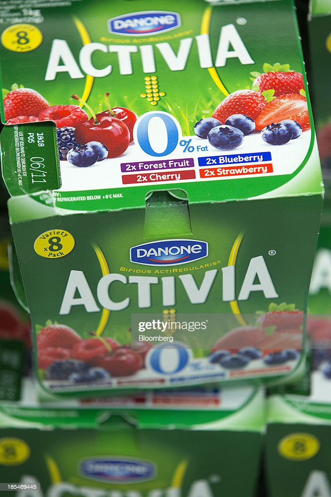 Multi-pack pots of Activia yoghurts, produced by Danone SA, sit displayed for sale inside an Asda supermarket, the U.K. retail arm of Wal-Mart Stores Inc., in Watford, U.K., on Thursday, Oct. 17, 2013. U.K. retail sales rose more than economists forecast in September as an increase in furniture demand led a rebound from a slump the previous month. Photographer: Simon Dawson/Bloomberg via Getty Images