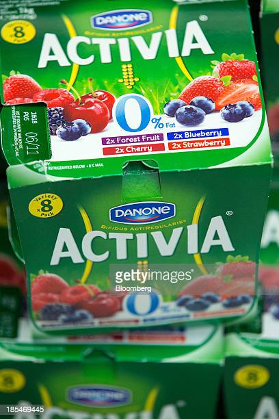 Multipack pots of Activia yoghurts produced by Danone SA sit displayed for sale inside an Asda supermarket the UK retail arm of WalMart Stores Inc in...