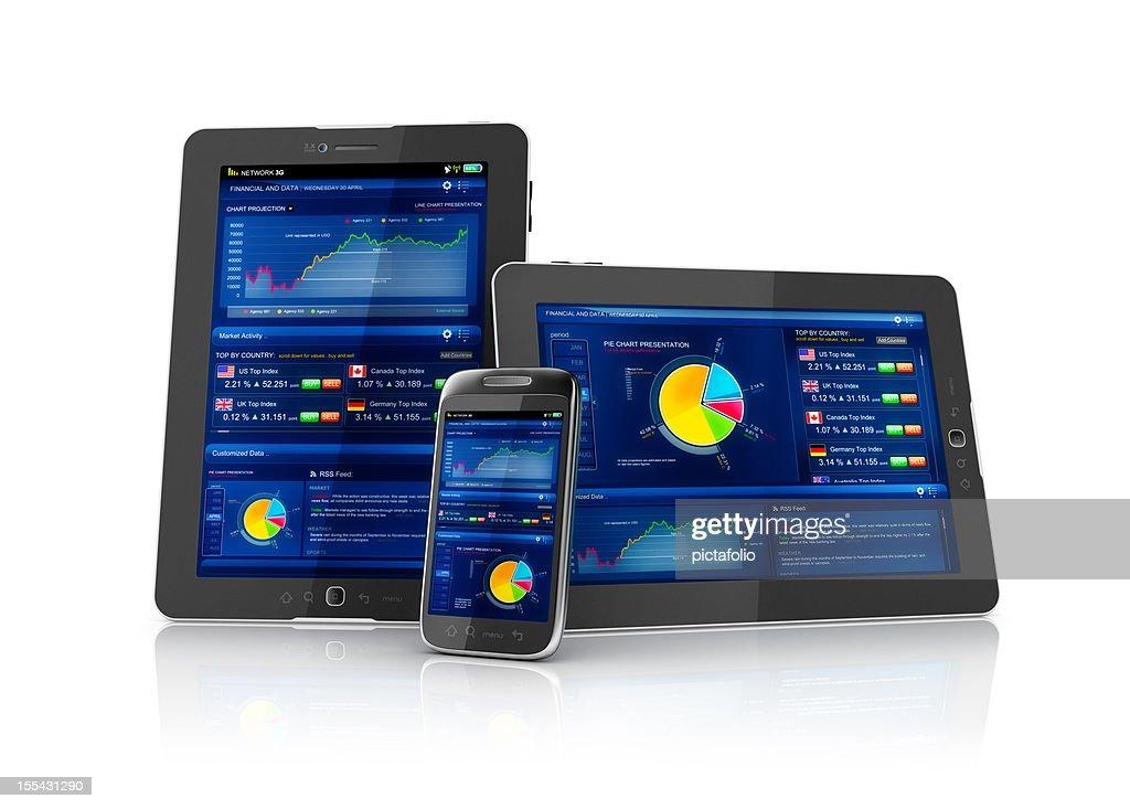 Multiplatform business stocks mobile app : Stock Photo