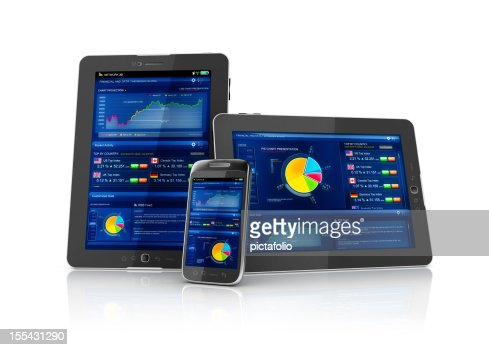Multiplatform business stocks mobile app : Stock Photo