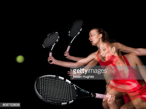 Multiple action shot of woman playing tennis