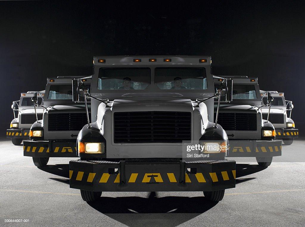 Multiple armored trucks