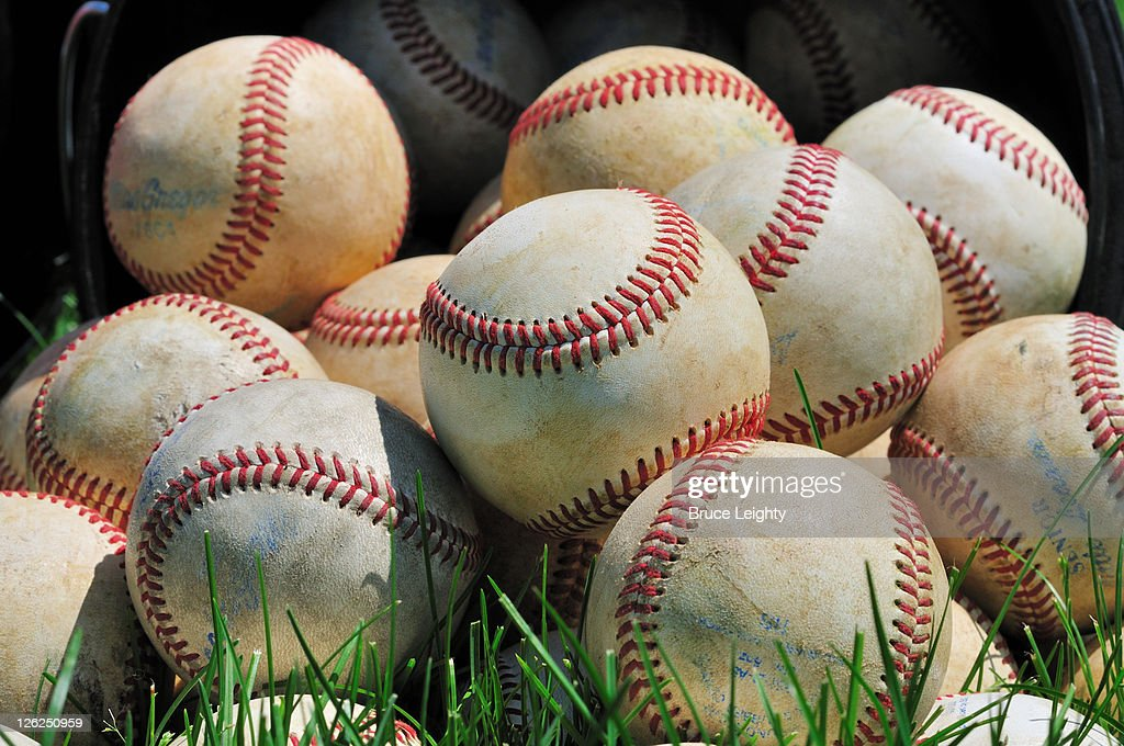 Multiple Baseballs on Field : Stock Photo